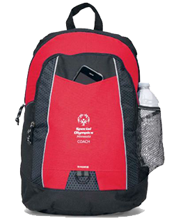 The Special Olympics Minnesota coach backpack is red and has plenty of pockets for your devices, water bottles and more.